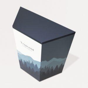 斜め右上から見た山の絵がデザインされた台形の展示台